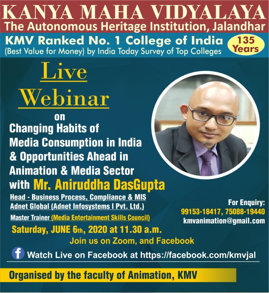 """Live Webinar on """"Changing Habits of Media Consumption in India & Opportunities Ahead in Animation & Media Sector"""""""